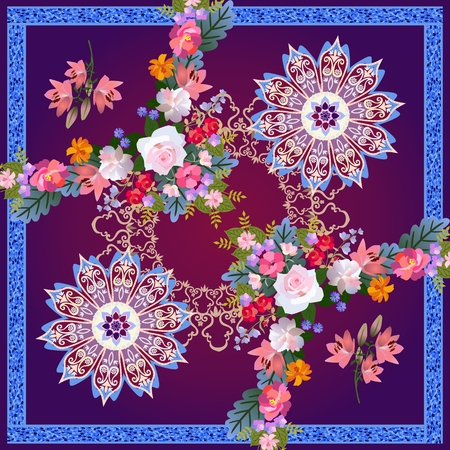 Fashionable bandana print with mandala flower and floral garland on purple background with blue metallic frame.