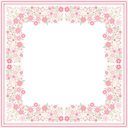 White bandana print with beautiful floral border with light red flowers and green leaves in vector. Square card with space for text.