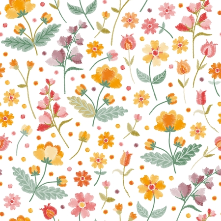 Embroidery summer meadow. Seamless ditsy floral pattern with beautiful embroidered flowers and leaves on white background in folk style. Fashion print in vector.