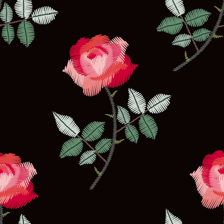 Embroidery seamless pattern with beautiful red roses. Fashion design for fabric. Vector illustration.