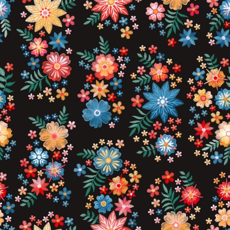 Embroidery seamless pattern with groups of beautiful flowers. Floral background in vintage style. Fancywork. Fashion design. Vector illustration.