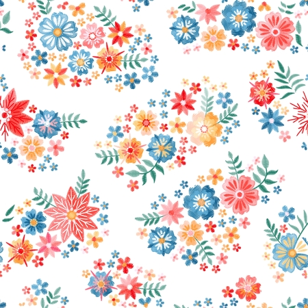 Embroidery seamless pattern. Colorful  summer flowers and leaves on white background. Vector illustration. Fashion design. Stock fotó - 117203869