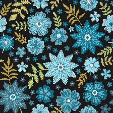 Seamless floral pattern with embroidery flowers and leaves. Vector illustration. Illusztráció