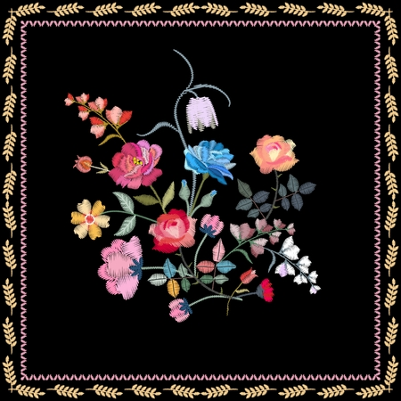Floral embroidery. Beautiful card with embroidered bouquet of summer flowers. Illusztráció