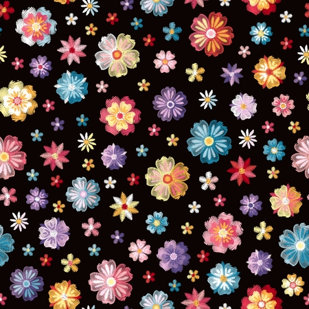 Colorful different embroidered flowers on black background. Vector seamless pattern. Floral embroidery.