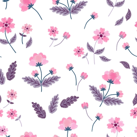 Pink embroidered flowers isolated on white background. Seamless pattern with imitation of satin stitch in vector. Stock fotó - 117203901