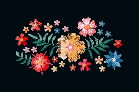 Embroidery design with beautiful flowers and leaves. Colorful bouquet isolated on black background. Satin stitch in vector. Stock fotó - 117011224