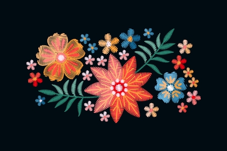 Embroidery floral pattern. Vector embroidered bouquet with flowers and leaves.