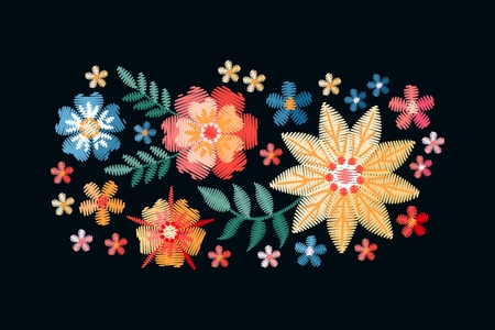 Embroidery bouquet with red, yellow and blue flowers isolated on black background. Vector illustration. Imitation of satin stitch. Stock fotó - 117011226