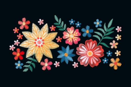 Vector design with embroidery colorful ethnic flowers. Embroidered composition for fashion prints. Stock fotó - 117011227