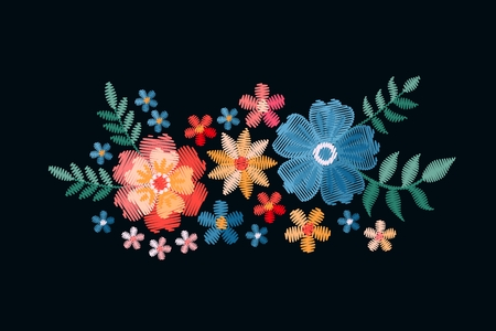 Embroidery design with beautiful flowers. Colorful floral composition on black background. Satin stitch in vector. Stock fotó - 117011229