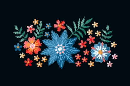 Colorful composition with embroidered summer flowers. Imitation of satin stitch. Vector illustration.