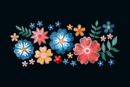 Colorful composition with embroidered summer flowers. Imitation of satin stitch. Vector illustration. Stock fotó - 117011231