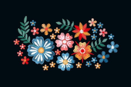 Embroidery. Bouquet with beautiful summer flowers. Cute floral composition on black background.