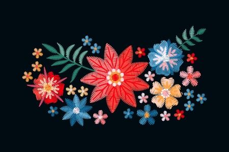 Broderie. Bouquet avec de belles fleurs. Composition florale colorée sur fond noir. Point de bourdon en vecteur.