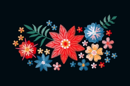 Embroidery. Bouquet with beautiful flowers. Colorful floral composition on black background. Satin stitch in vector.