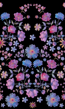 Vintage seamless pattern with beautiful volume embroidery of flowers.