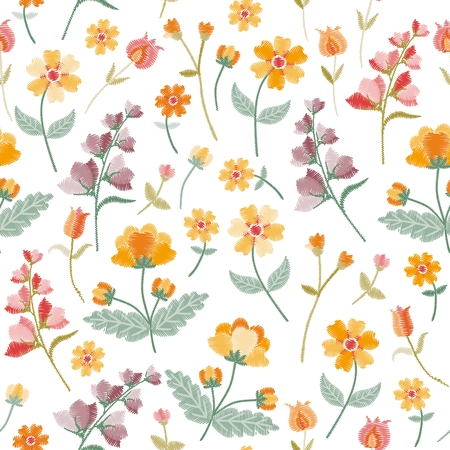Embroidery seamless pattern with beautiful wildflowers on white background. Vector print with flowers of summer meadow.