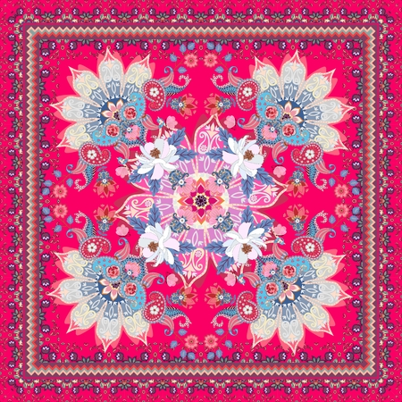 Flowers, mandala and paisley ornament on bright crimson background. Beautiful frame. Square carpet or shawl in ethnic style. Indian, russian motives.
