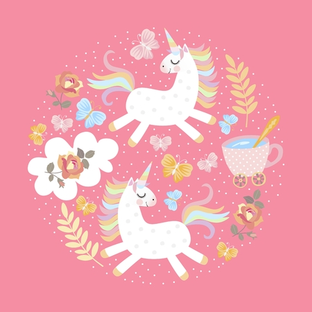 Cute round pattern with two magic unicorns, butterflies, flowers, cup of tea on pink background. Vector illustration for print on t-shirts, greeting or invitation cards.