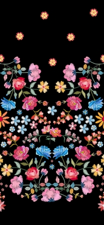 Embroidery seamless pattern with colorful flowers on black background. Fashion design for fabric. Satin stitch. Vector illustration. Stock fotó - 117011247