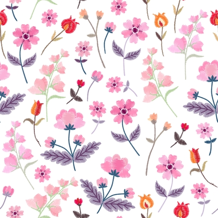 Vector embroidery with cute wild flowers. Ditsay floral seamless pattern on white background.