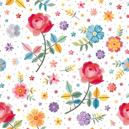 Embroidery seamless pattern with beautiful bright flowers on white background. Fashion design. Vector embroidered illustration. Illusztráció