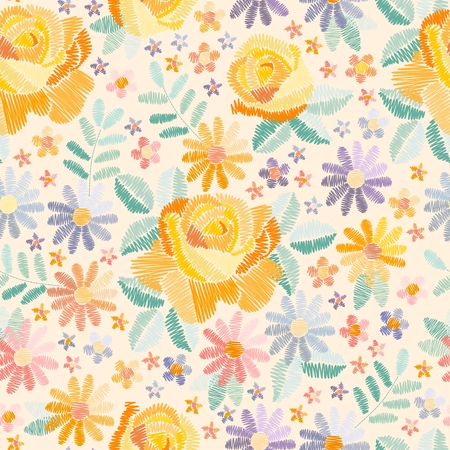 Embroidery floral seamless pattern with beautiful flowers in pastel colors. Embroidered print in vector. Fashion design for fabric.