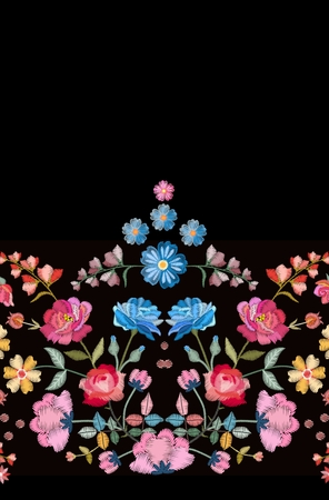 Floral embroidery. Seamless border with beautiful colorful flowers. Fashion design. Vector illustration.