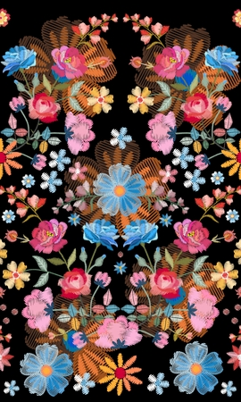 Embroidery seamless pattern with beautiful colorful flowers. Unusual floral design. Fashion print.