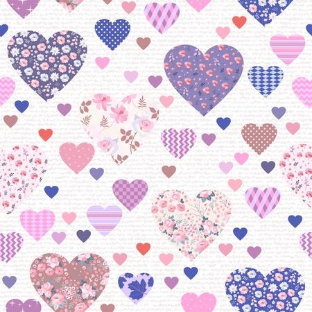 Patrón sin fisuras con diferentes corazones hermosos con adornos florales y geométricos. Diseño patchwork. Ilustración de vector