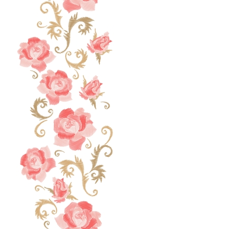 Floral embroidery. Vertical seamless line with beautiful pink rose flowers on white background. Template for greeting and invitations cards with place for text. Fashion design. Stock fotó - 117203945