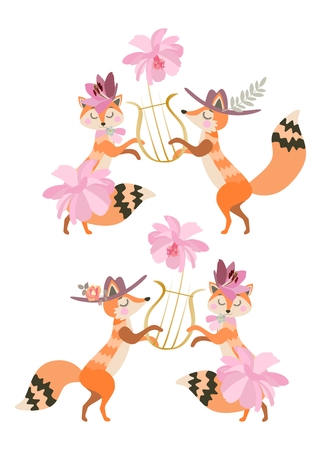 Cute cartoon foxes in lush skirts and hats play the lira and dance. Isolated on white background in vector. Valentine's day.