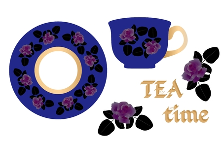 Natural pattern for tea pair. English breakfast. Beautiful roses on a bright blue background.