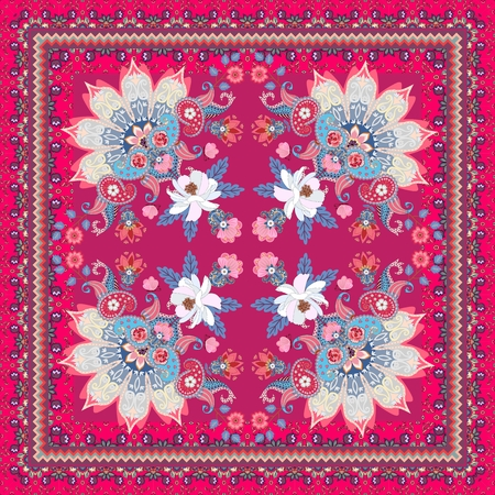 Wonderful oriental pattern with white flowers, paisley ornament, half of mandala, pink butterflies and zigzag frame. Carpet, doily, shawl, pillowcase in ethnic style. Indian, russian motives. 写真素材