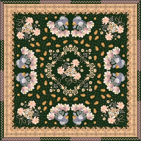 Square carpet, shawl  or tea box package with magic doves, oak leaves, tiny hearts, bunch of flowers and paisley border. Ethnic style. 写真素材