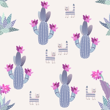 Funny blooming cacti with cartoon faces, succulents and dreamy cats isolated on light background in vector. Seamless pattern.