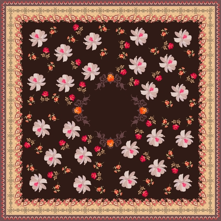 Square shawl with garden flowers and paisley ornament on brown background. Fashionable print for fabric. Illustration