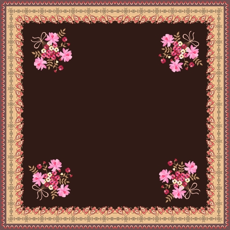 Card, bandana print, kerchief design, napkin with cute bunch of flowers and paisley ornamental border on brown background.