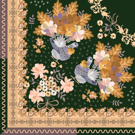 Quarter of shawl with fairytale birds, bouquet of flowers and paisley ornament on dark green background. Autumn motif. Illustration