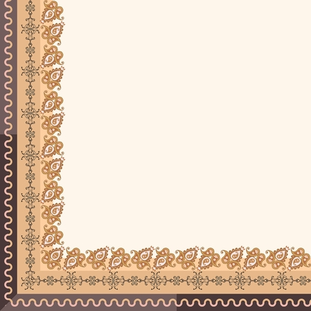 Quarter of tablecloth or simple bandana with ornamental paisley border in golden and brown tones. Vector illustration.