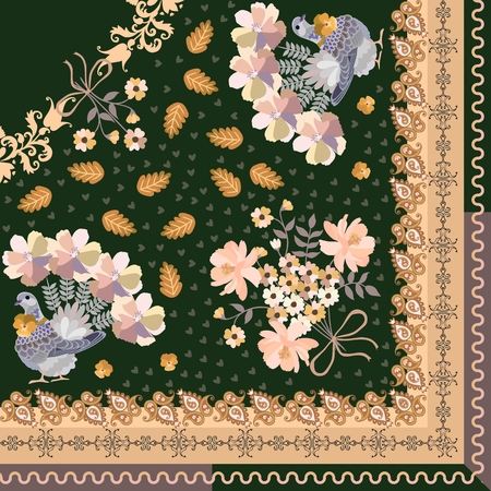 Quarter of shawl in ethnic style. Doves with tails in shape of bunchs of flowers, little hearts, stylized oak leaves and paisley ornament in vector.