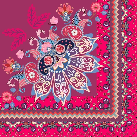 Quarter of shawl in ethnic style. Half of mandala, paisley, flowers and ornamental border in vector. Indian, turkish motives.