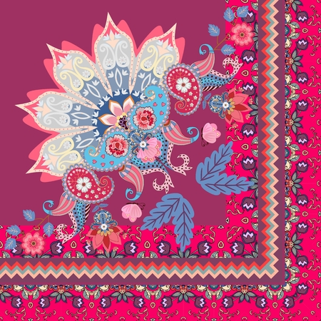Quarter of shawl or carpet in ethnic style. Half of mandala, paisley ornament and decorative border with tulips flowers in vector. Illustration