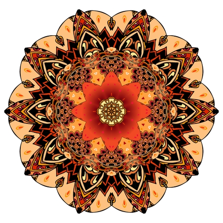 Ornamental print for dish or round carpet in ethnic style. Red tulip on mandala flower in vector. Design element.