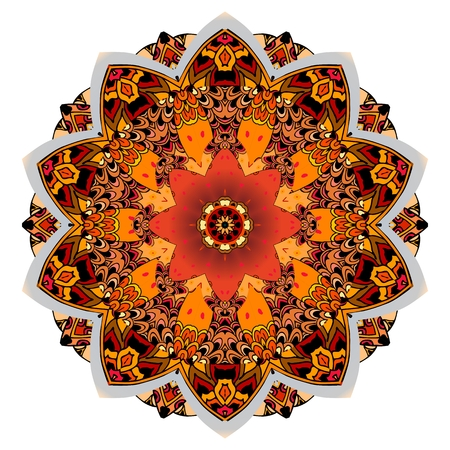 Round floral pattern. Beautiful mandala with stylized red tulip in vector. Template for dish, rug in ethnic style. Ilustração