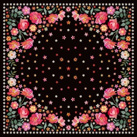 Embroidery square pattern for shawl with beautiful flowers. Russian motives.