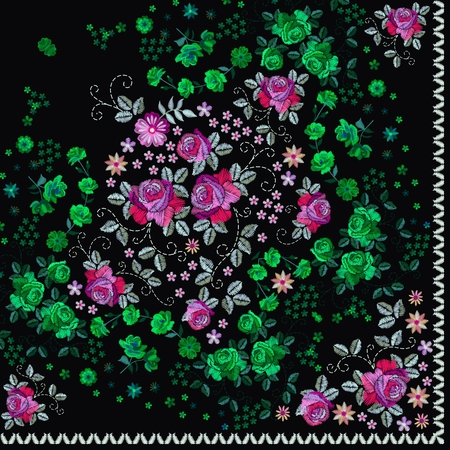 Quarter of russian bandana print with floral embroidery. Silk neck scarf with beautiful flowers and leaves. Summer kerchief square pattern.