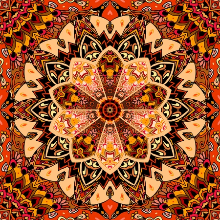 Seamless ornamental pattern with patchwork mandala flower in warm tones. Print for fabric, carpet, cushion, wrapping design.