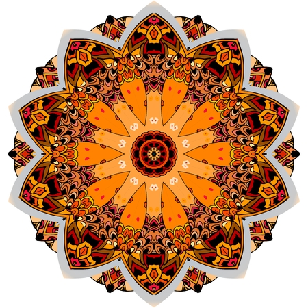 Beautiful round pattern in warm tones for decorative dish or carpet. Design element.